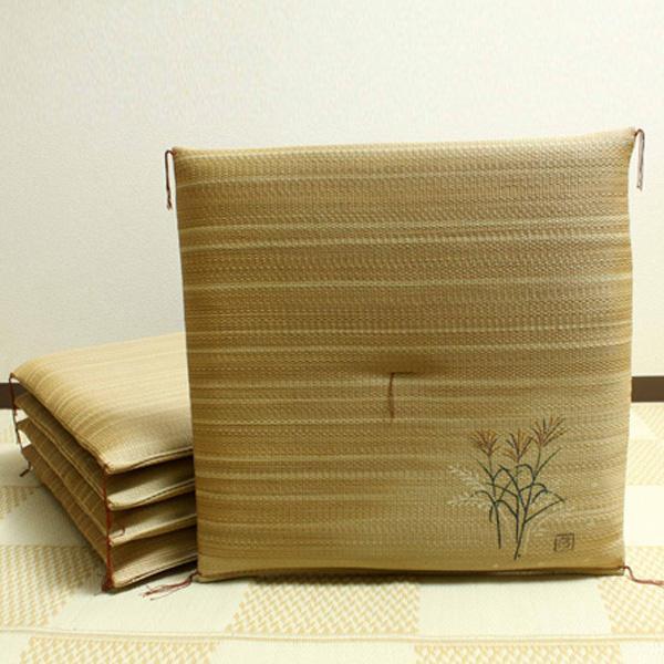 【クーポンあり】【送料無料】純国産 捺染返し い草座布団 『薄(すすき) 5枚組』 約55×55cm 3117550 い草に青森ヒバ加工を施しています。