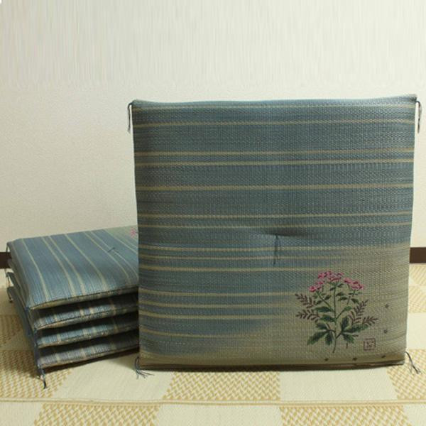 【クーポンあり】【送料無料】純国産 捺染返し い草座布団 『藤袴(ふじばかま) 5枚組』 約55×55cm 3114700 い草に青森ヒバ加工を施しています。