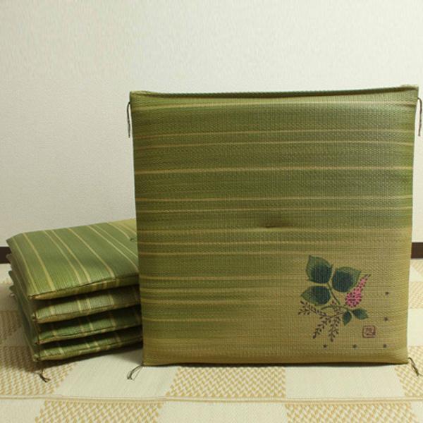 【クーポンあり】【送料無料】純国産 捺染返し い草座布団 『葛(くず) 5枚組』 約55×55cm 3118850 い草に青森ヒバ加工を施しています。