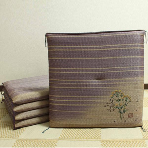 【クーポンあり】【送料無料】純国産 捺染返し い草座布団 『女郎花(おみなえし) 5枚組』 約55×55cm 3118600 い草に青森ヒバ加工を施しています。