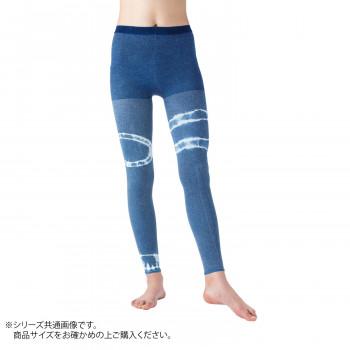 【クーポンあり】【送料無料】日本製 着圧レギンス×藍染(二輪絞り) 阿波藍 M