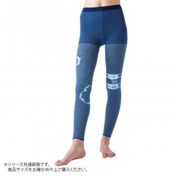 【クーポンあり】【送料無料】日本製 着圧レギンス×藍染(一輪絞り) 阿波藍 S