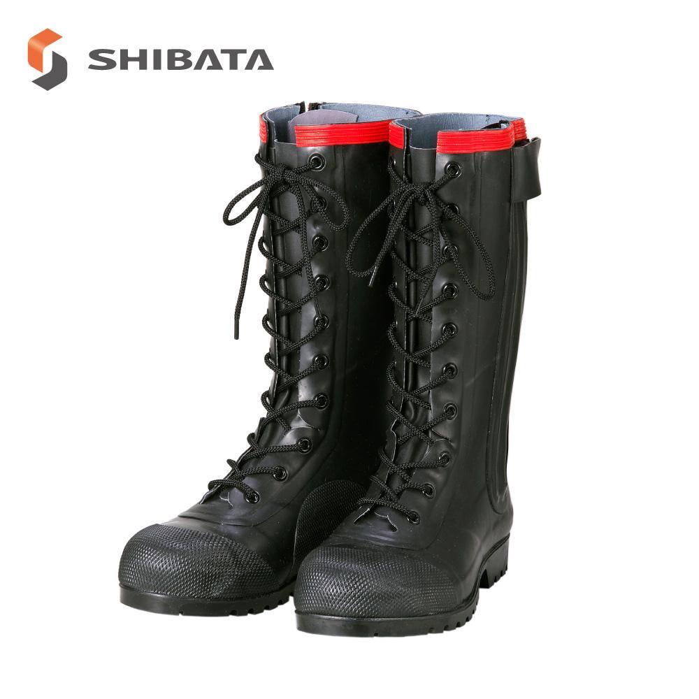 【クーポンあり】【送料無料】AE030 安全編上長靴導電タイプ 25センチ 編み上げで足にフィット、ファスナーで着脱しやすい安全長靴。