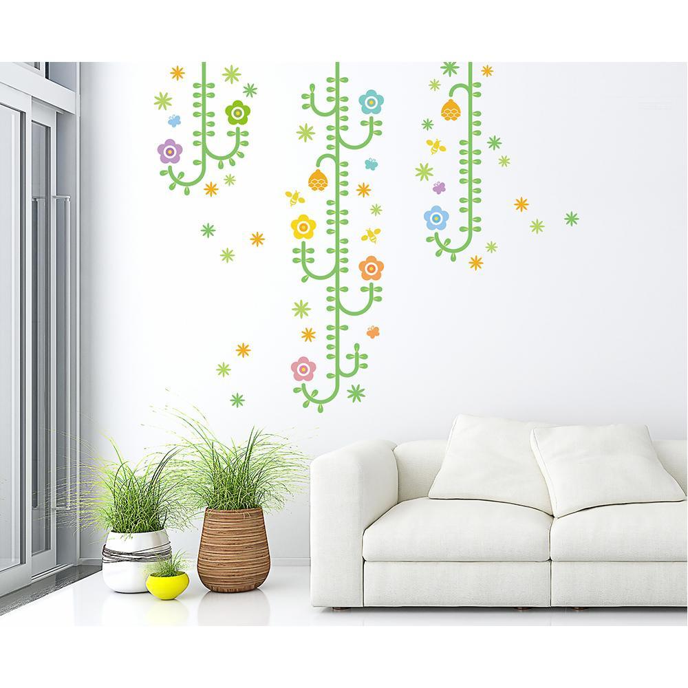 【クーポンあり】【送料無料】東京ステッカー ウォールステッカー 転写式 植物と昆虫たち ベーシックグリーン Lサイズ TS-0006-AL