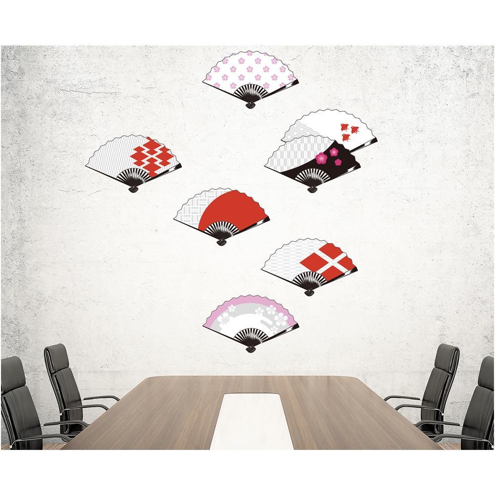 【クーポンあり】【送料無料】東京ステッカー ウォールステッカー 転写式 扇子 白と紅色 Lサイズ TS-0026-BL