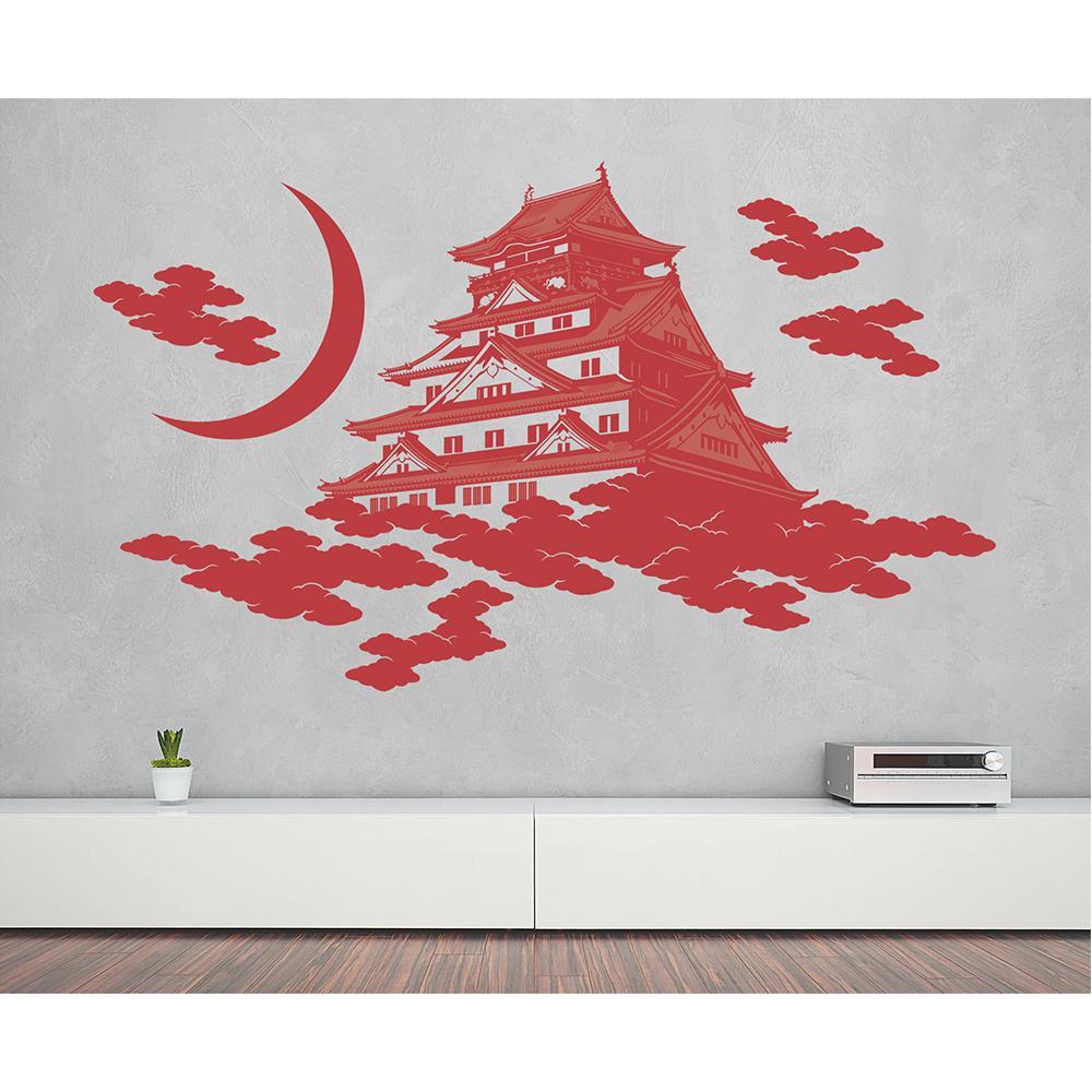 【クーポンあり】【送料無料】東京ステッカー ウォールステッカー 転写式 大阪城 赤紅 Mサイズ TS-0049-EM