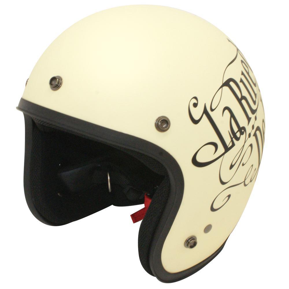 【クーポンあり】【送料無料】ダムトラックス(DAMMTRAX) バイクジェットヘルメット JET-D LOVE&ROCK IVORY/BLACK MENS ロックなデザインのヘルメット!!