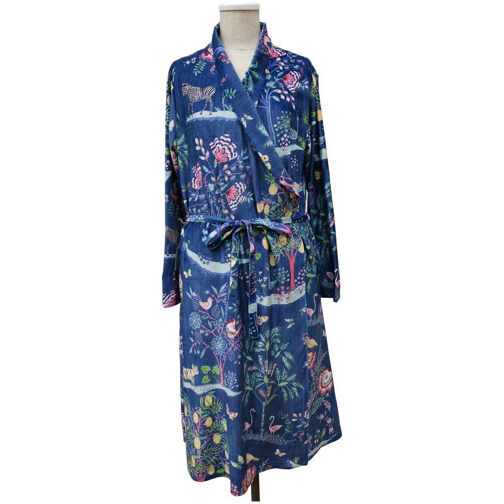 【クーポンあり】【送料無料】Dena Home Exotic マイクロファイバーガウン NV HRSO-180315 エキゾチック かわいい ルームウェア おしゃれ ネイビー タオル地 レディース 花柄