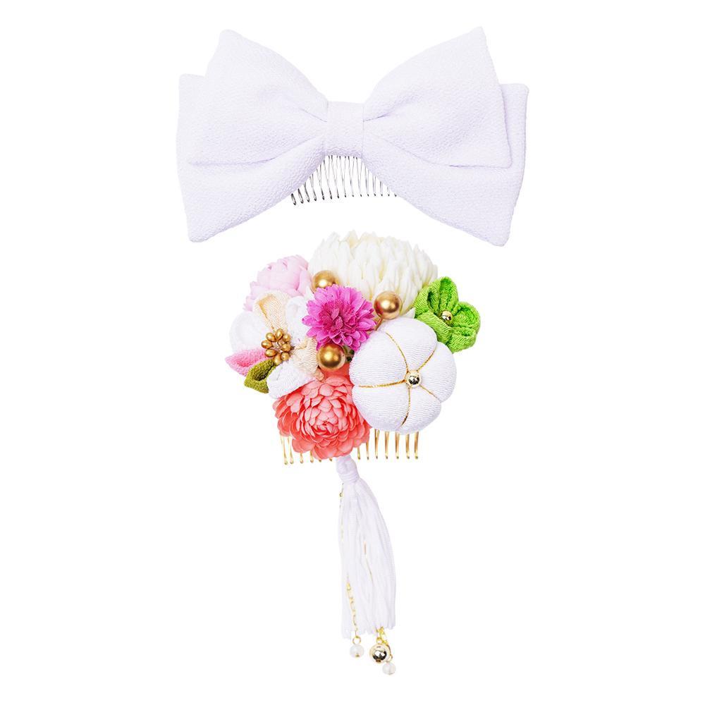 【クーポンあり】【送料無料】ぽんぽん菊とリボンの和風髪飾りセット (コーム2点) 224-042 シロ