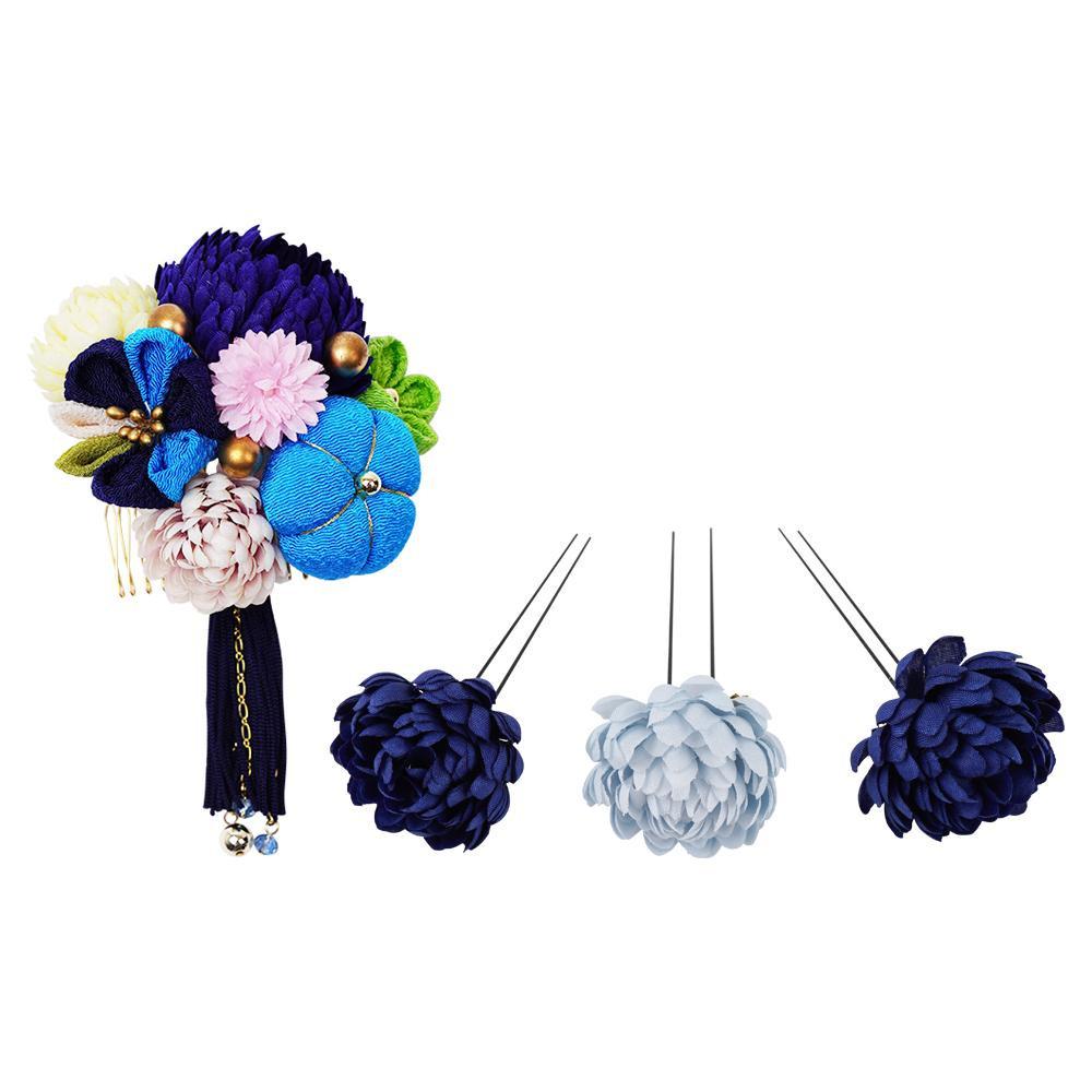 【クーポンあり】【送料無料】ぽんぽん菊の和風髪飾りセット (コーム・Uピン3本) 224-043 コン