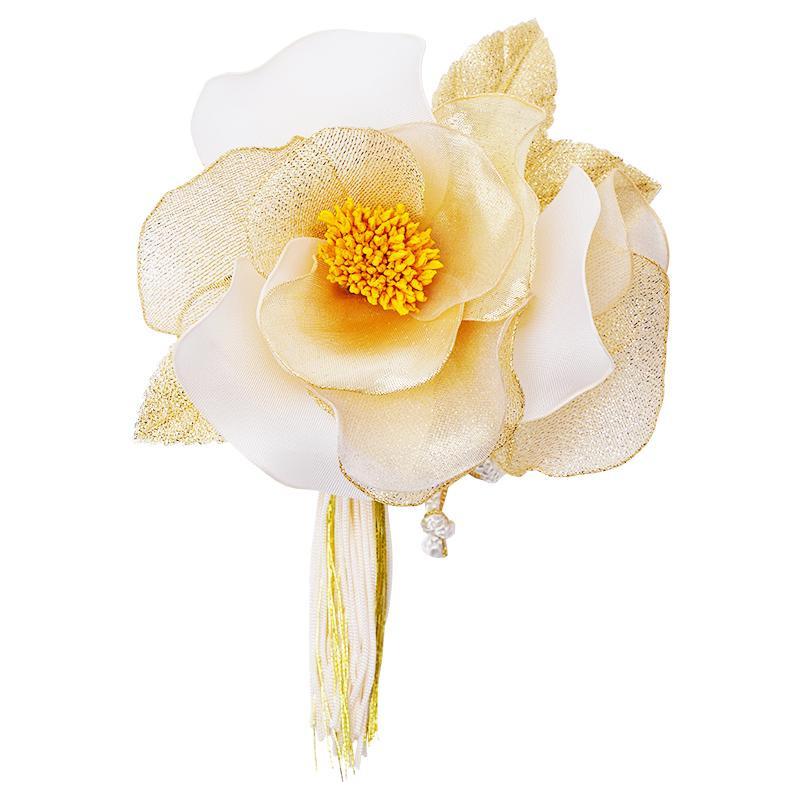 【クーポンあり】【送料無料】椿の和風髪飾り 224-017 ゴールド
