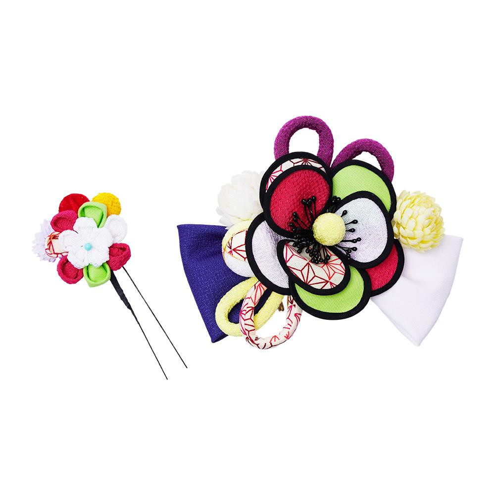 【クーポンあり】【送料無料】レトロポップな和風髪飾り (コーム・Uピン) 224-022 シロ