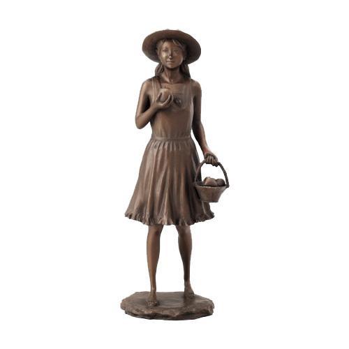 【クーポンあり】【送料無料】高岡銅器 銅製置物 洋風 仙里篤成作 リンゴを持つ少女 17-04