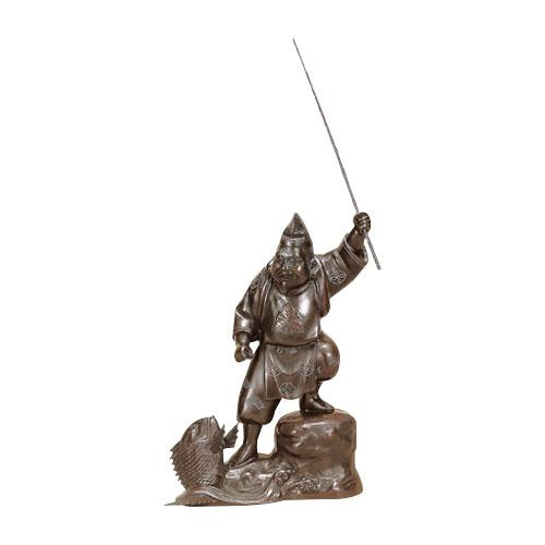 【クーポンあり】【送料無料】高岡銅器 銅製置物 越山栄山作 銀製入 恵比寿 12号 39-02