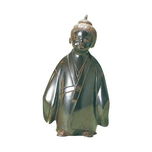 【クーポンあり】【送料無料】高岡銅器 銅製置物 米治一作 鉄色 無我童子 大 46-04