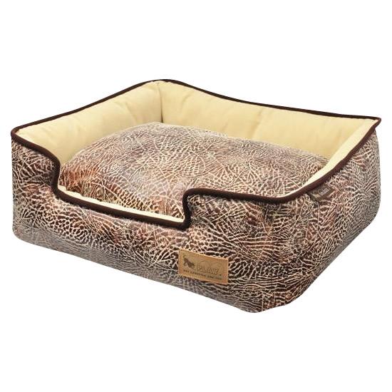 【クーポンあり】【送料無料】ラグジュアリーベッド「P.L.A.Y」 ペット用ラウンジベッド(BOX型) M サバンナ/チョコレート あご乗せもできる「ラウンジベッド」♪