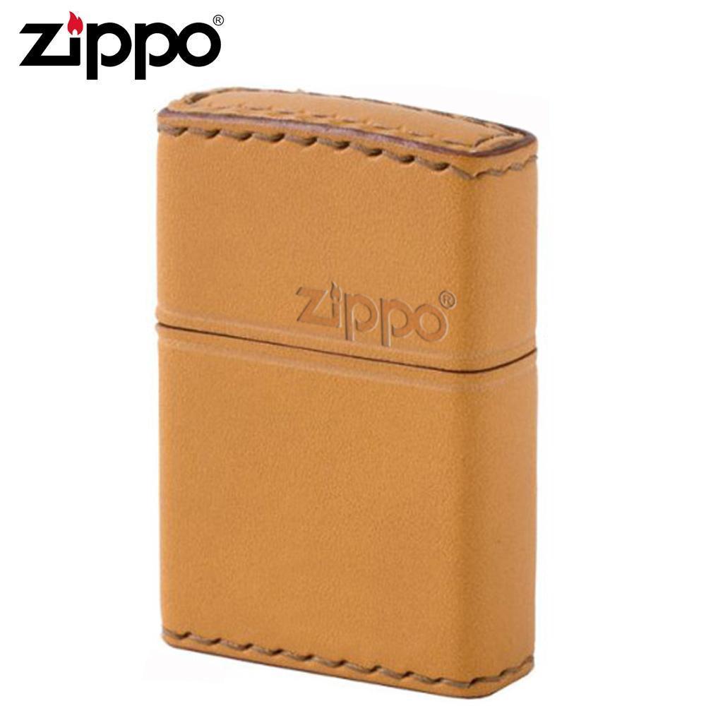 【送料無料】ZIPPO(ジッポー) オイルライター LB-5革巻き 横ロゴ キャメル 職人が丁寧に手縫いした牛革使用のZIPPO。