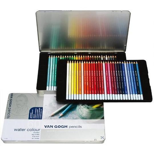 【クーポンあり】【送料無料】VAN GOGH ヴァンゴッホ 水彩色鉛筆 60色セット(メタルケ-ス入り) T9774-0065 157401/大人の塗り絵にも☆耐光性・水溶性に優れた高品質の水彩色鉛筆。