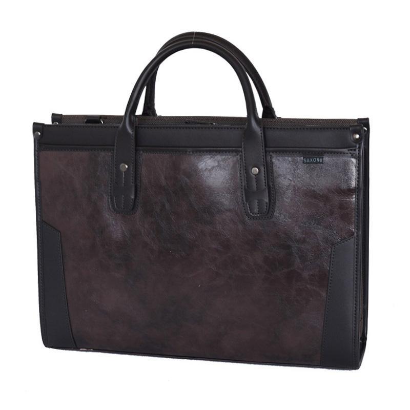 【クーポンあり】SAXON スタンドビジネスバッグ ブラウン 05191 幅広い年代の方にお使いいただけます。