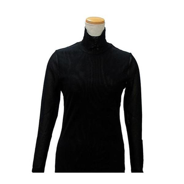 【クーポンあり】【送料無料】ハマナカ インナーM 黒 H180-001-4 下着 ババシャツ 防寒 肌着 タートルネック 長袖 女性 レディース