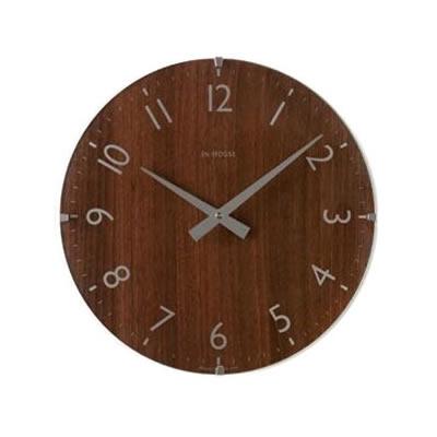 【クーポンあり】【送料無料】イギリス IN HOUSE インハウスデザイン社 ドームクロック 29cm ウォルナット・NW31WB 木製 インテリア 北欧 ナチュラル 丸型 掛け時計 洗練 プレゼント モダン おしゃれ ギフト ウッド