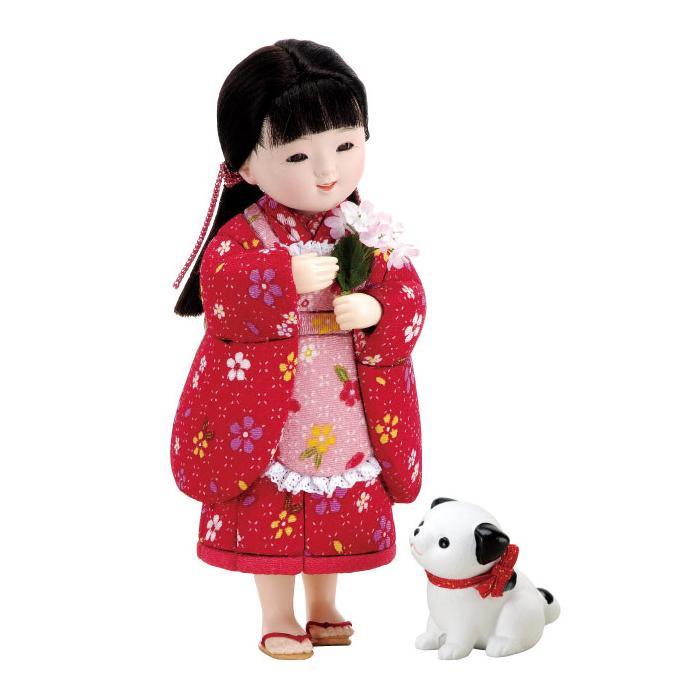 【クーポンあり】【送料無料】01-645 おさんぽ セット かわいらしい女の子の木目込み人形。