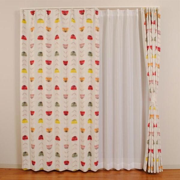 【クーポンあり】北欧デザイン遮光カーテン LMディンプル レッド W100×H120 2枚入 遊び心あるデザインの柔らかなカーテン。