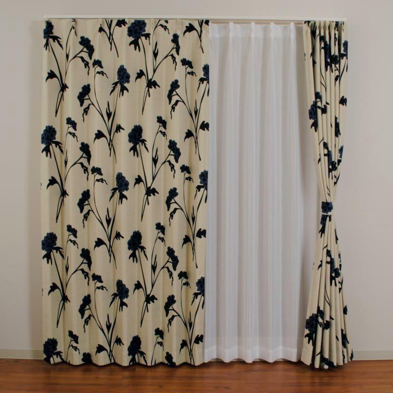 【クーポンあり】北欧遮光ドレープカーテン LMダスク ネイビー W100×H135 2枚入 シックな色使いが魅力的なカーテン。