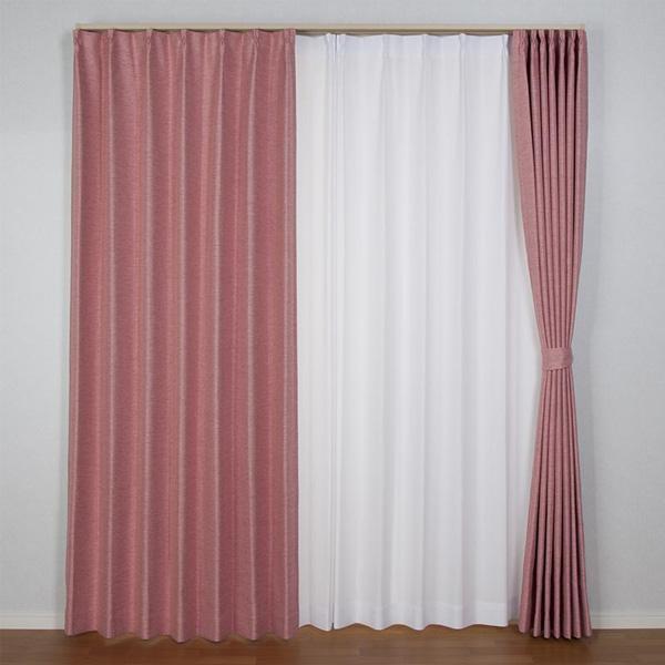 【クーポンあり】【送料無料】北欧遮光ドレープカーテン コローレ ローズ W100×H195 2枚入 程よい光沢のあるカーテン。