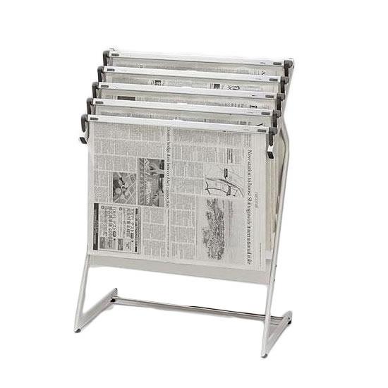 【クーポン有】【送料無料】ナカキン 新聞架 5本掛 370NS-343-WG/フレームに曲線を持たせた優しい雰囲気の新聞架です♪