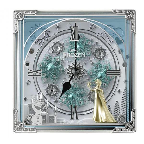 【クーポン有】【送料無料】リズム時計 キャラクタークロック からくり置時計/アナと雪の女王 03白(白) 4RH784MA03/アナと雪の女王の世界を再現したからくり時計!