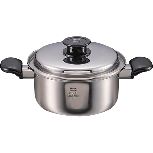 【クーポンあり】【送料無料】パール金属 クックマルシェ 3層鋼深型両手鍋 20cm HB-2385/「無水調理」ができる3層鋼両手鍋。