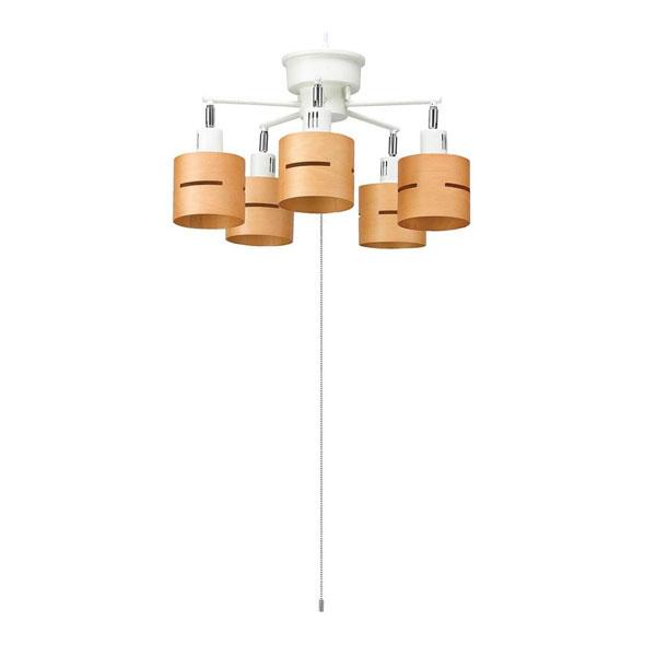 【クーポンあり】【送料無料】YAZAWA(ヤザワコーポレーション) 5灯ウッドセードシーリング ナチュラル E26 電球なし CEX60X02NA