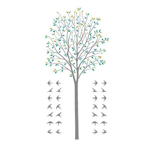 【クーポン有】【送料無料】東京ステッカー 転写式 大判 ウォールステッカー 木とツバメ グリーン Lサイズ TS-0027-AL/色々なお部屋にマッチする、木とツバメのウォールステッカー。