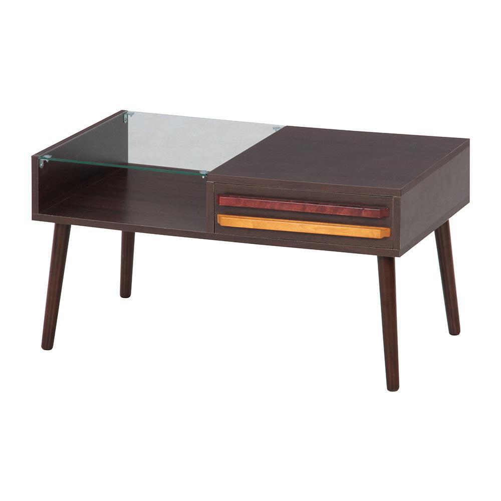 【送料無料】リビングテーブル オスロ ダークブラウン 10035 ダイニングテーブル 木製 ガラス 家具 インテリア 棚付 センターテーブル 木目 ラック付 ローテーブル 机 デスク おしゃれ