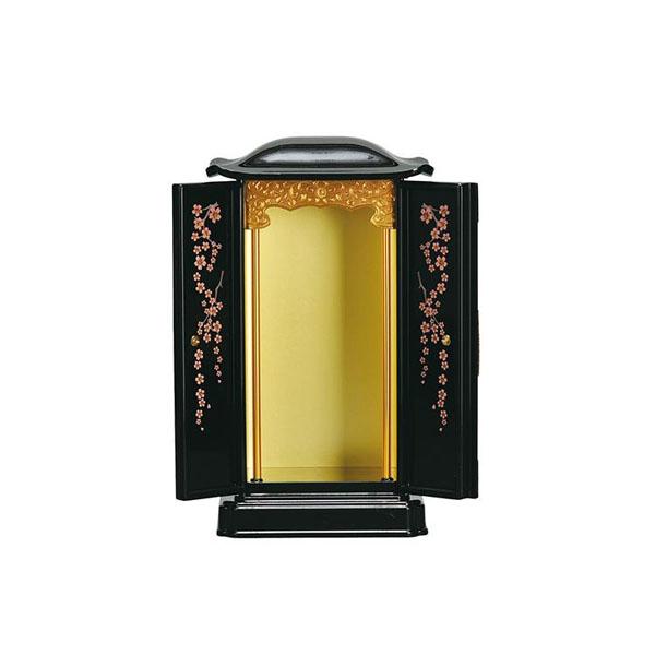 【クーポンあり】【送料無料】厨子型ミニ仏壇 黒(内金) 小 扉の内側に華やかな蒔絵が施された厨子型ミニ仏壇です。