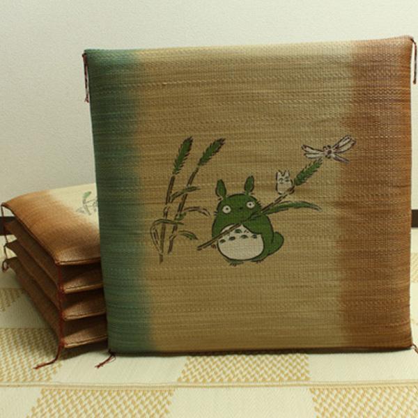 【送料無料】純国産 捺染返し い草座布団 『のはらトトロ 5枚組』 約55×55cm 3101300