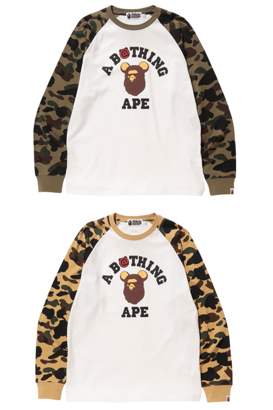 1ST CAMO BE@R COLLEGE L/S TEE