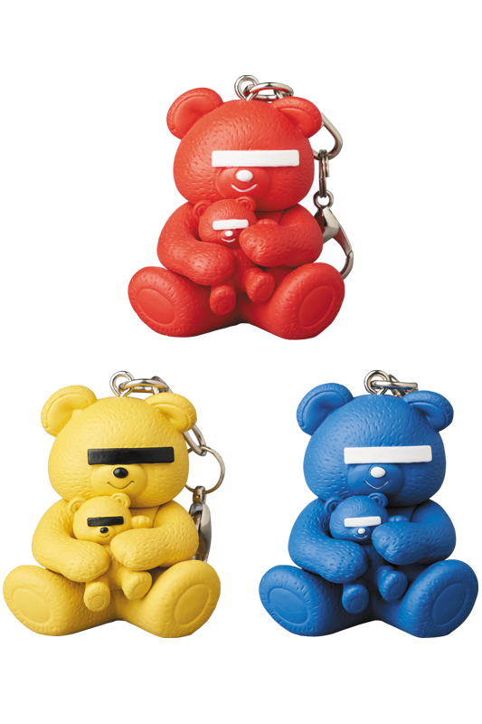 UNDERCOVER × MEDICOM TOY KEYCHAIN UNDERCOVER BEAR RED/YELLOW/BLUE