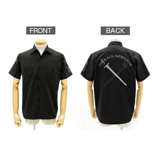 【送料無料対象商品】コスパ ソードアート・オンライン 黒の剣士 刺繍ワッペンベースワークシャツ BLACK