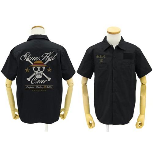 【送料無料対象商品】コスパ ワンピース 麦わらの一味 刺繍ワークシャツ BLACK