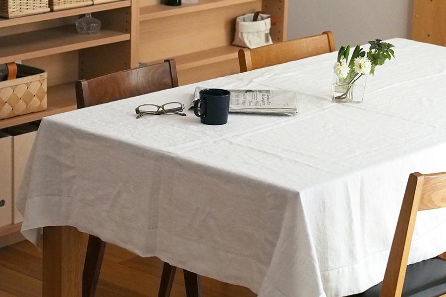 リネンテイルズ ヴィンテージコレクション ヘムステッチ テーブルクロス ホワイト 140×200 / Linen Tales