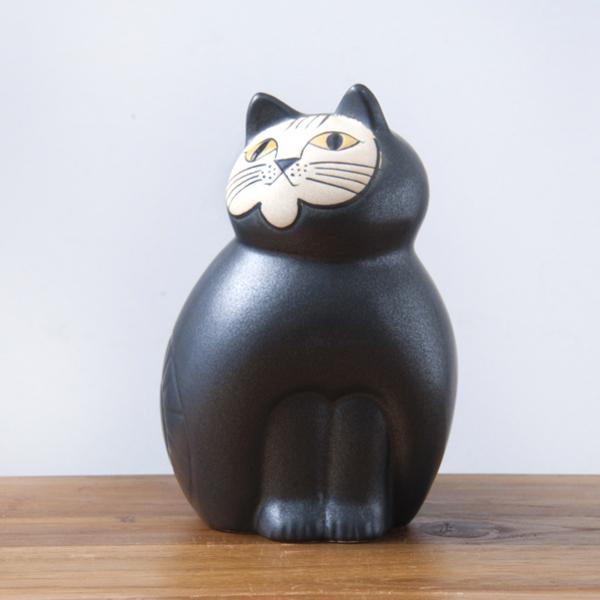 リサ・ラーソン ミア ミディアム 190mm ブラック・ホワイト / Lisa Larson Cats-Mia