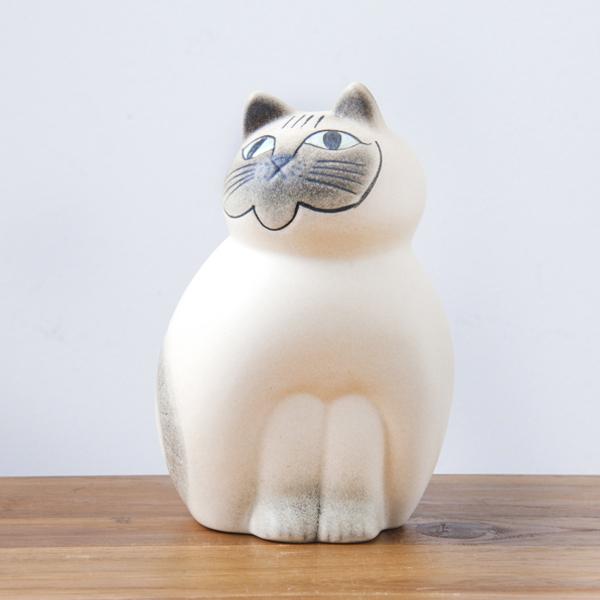 リサ・ラーソン ミア ミディアム 190mm ホワイト・グレー / Lisa Larson Cats-Mia