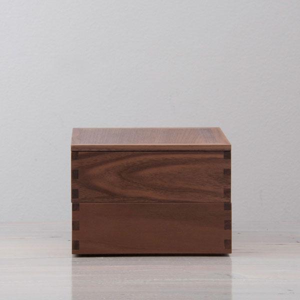 松屋漆器店 ウォールナット 5寸二段重 内黒