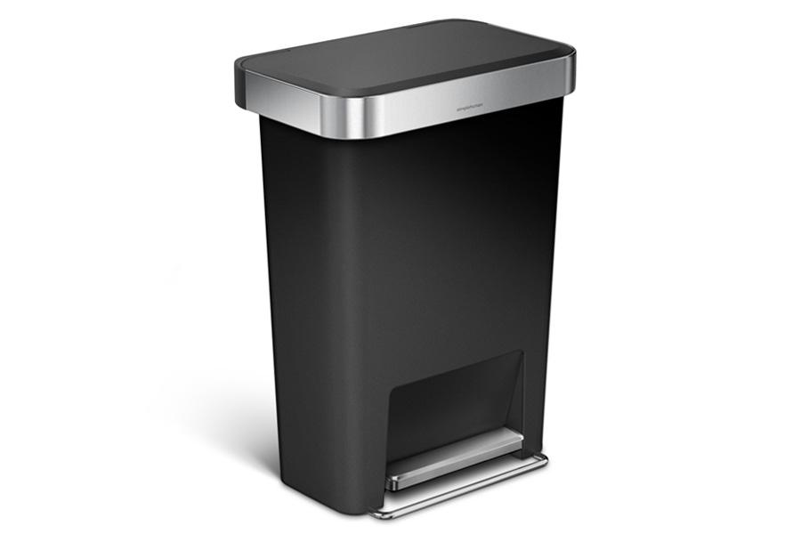 simplehuman シンプルヒューマン ステップダストボックス プラスチック 45L ブラック レクタンギュラー / simplehuman