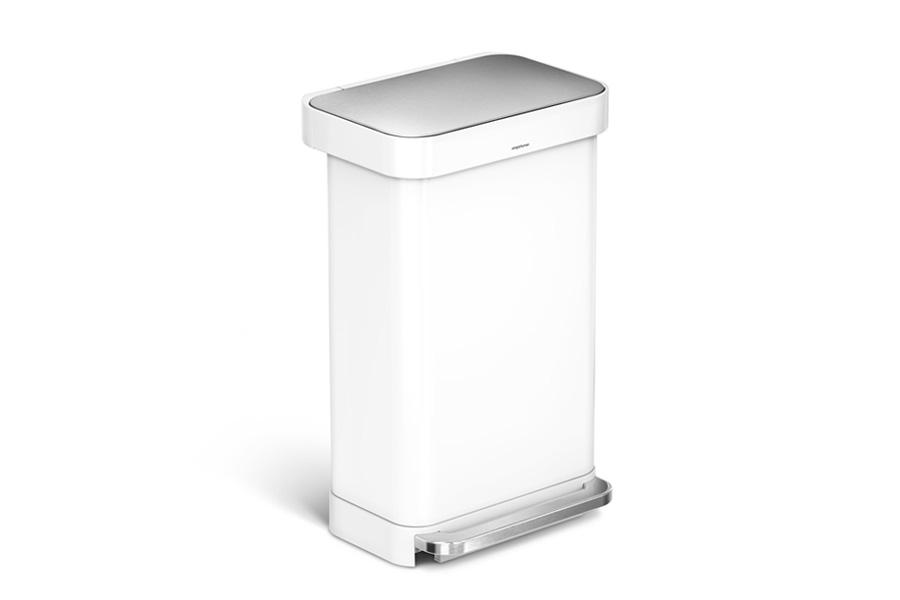 simplehuman シンプルヒューマン ステップダストボックス ステンレス 45L ホワイト レクタンギュラー / simplehuman