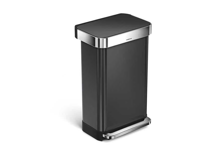 simplehuman シンプルヒューマン ステップダストボックス ステンレス 45L ブラック レクタンギュラー / simplehuman