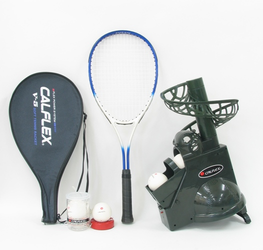 送料無料CALFLEX カルフレックス テニスネット&ソフトテニストレーナー&スペアボール&ソフトテニスラケット セット CTN-011&CT-011&V-5&TT-21&TB-21(テニス トスマシン トレーニング 練習器具 ソフトテニス)