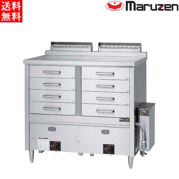 マルゼン ガス蒸し器 ドロワータイプ 標準仕様 2槽式 引出し8個 MUD-24CNU LPガス(プロパン)仕様 W1330・D750・H1115(50)mm 軟水器付